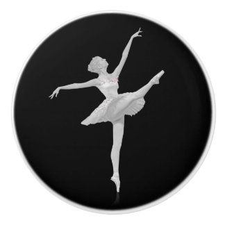 Ballerina in Silver and Black Ceramic Knob