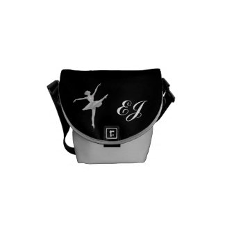 Ballerina in Silver and Black with Monogram Messenger Bags