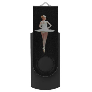 Ballerina in White on Black Swivel USB 2.0 Flash Drive