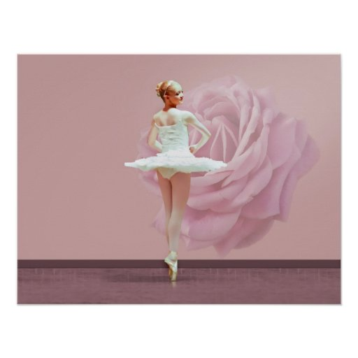 Ballerina in White with Pink Rose Print
