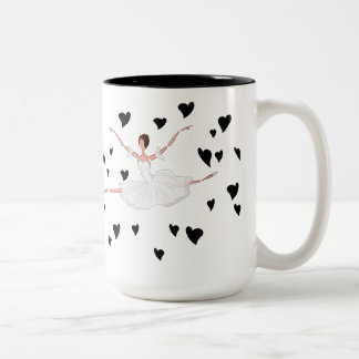 Ballerina Jumping Dancing between Black Hearts Two-Tone Coffee Mug
