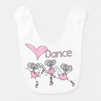 Ballerina Mice Love Dance  Bib