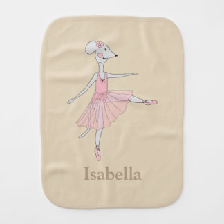 Ballerina Mouse Baby Burp Cloth - Changeable Name
