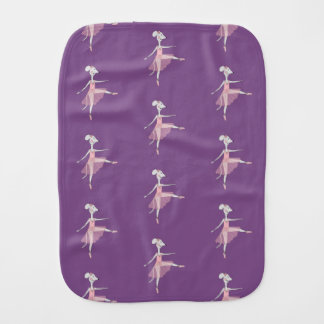 Ballerina Mouse Baby Burp Cloth - Purple
