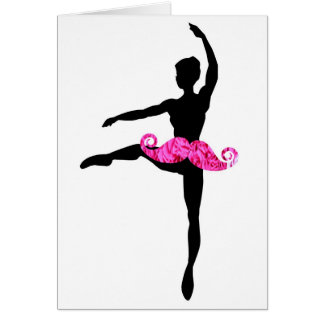 Ballerina Moustache Card