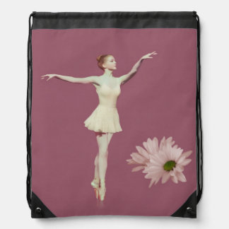 Ballerina On Pointe with Daisies, Monogram Drawstring Bag