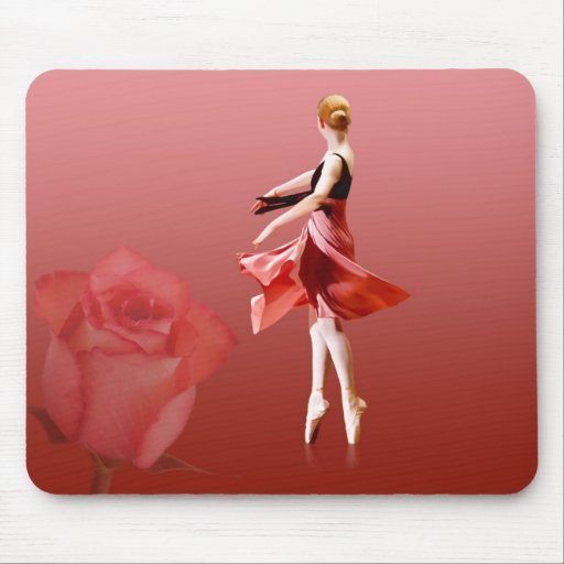 Ballerina On Pointe with Red Rose Mousepads