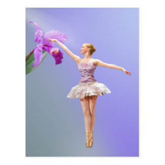 Ballerina, Orchid on Purple Postcard