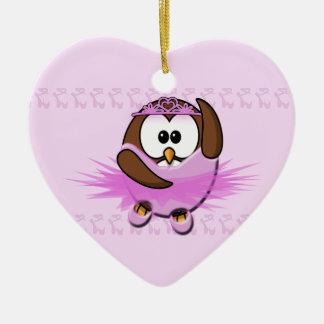 ballerina owl ceramic heart decoration