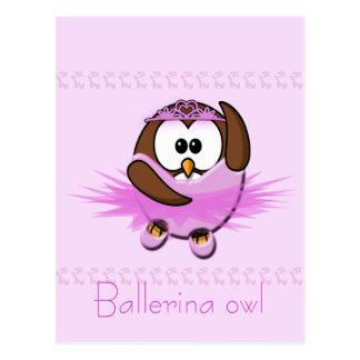 ballerina owl postcard