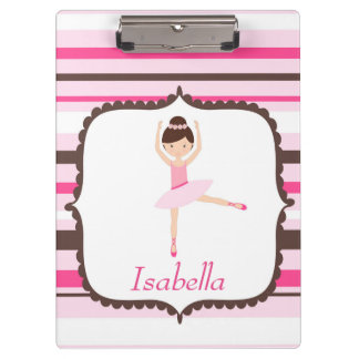 Ballerina Pink Brown Horizontal Stripes Clipboard
