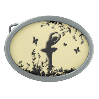 Ballerina Pirouette in Garden Yellow Oval Belt Buckles