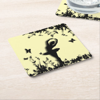 Ballerina Pirouette in Garden Yellow Square Paper Coaster