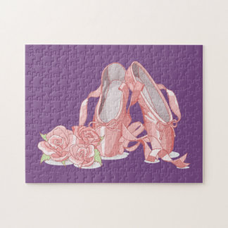 Ballerina pointe shoes and roses jigsaw puzzle