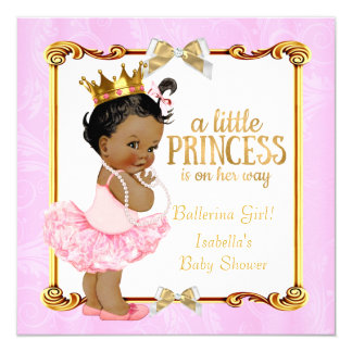 Ballerina Princess Baby Shower Pink Gold Ethnic 13 Cm X 13 Cm Square Invitation Card
