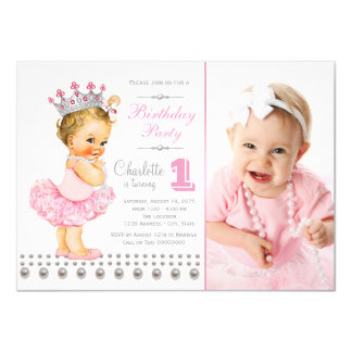 Ballerina Princess Pearl Girl Birthday Party 11 Cm X 16 Cm Invitation Card