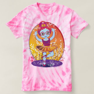 Ballerina Princess with Glasses Tie-Dye T-Shirt