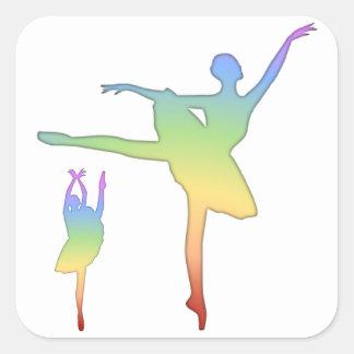 Ballerina - Rainbow 2 Square Sticker