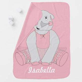 Ballerina Rhino Baby Blanket -  Changeable Name
