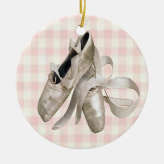 Ballerina Shoes Round Ceramic Decoration