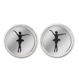 Ballerina Silhouette Black and Silver Customizable Cufflinks
