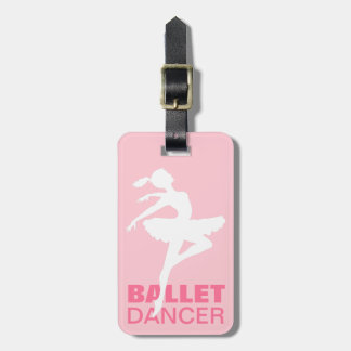 Ballerina Silhouette CHOOSE YOUR BACKGROUND COLOR Luggage Tag