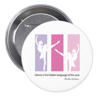Ballerina Silhouette in Pink 7.5 Cm Round Badge
