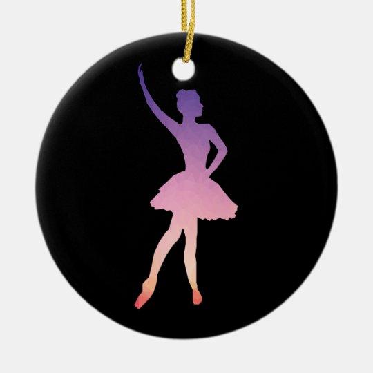 Ballerina silhouette in purple, pink ombre colours ceramic ornament