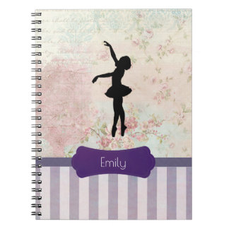 Ballerina Silhouette on Elegant Vintage Pattern Spiral Notebook