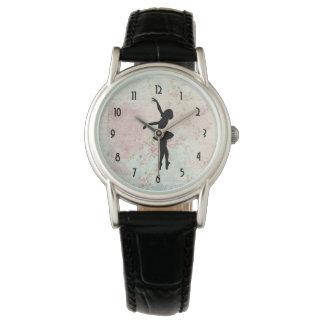 Ballerina Silhouette on Elegant Vintage Pattern Watch