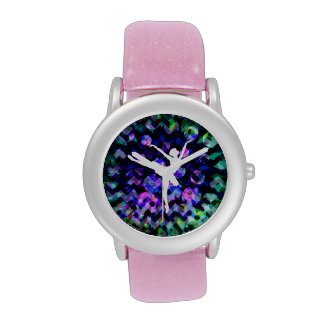 ballerina silhouette on party background wrist watch