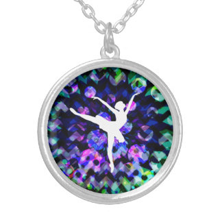ballerina silhouette on party background round pendant necklace