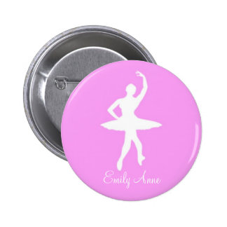 Ballerina Silhouette on Pink Round Pinback Button