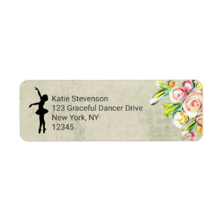 Ballerina Silhouette on Vintage Floral Design Return Address Label