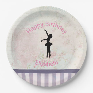 Ballerina Silhouette on Vintage Pattern Birthday Paper Plate