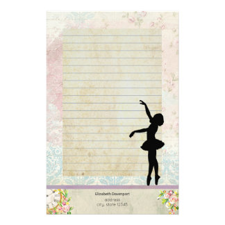 Ballerina Silhouette on Vintage Pattern Lined Personalized Stationery