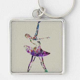 Ballerina Silver-Colored Square Key Ring