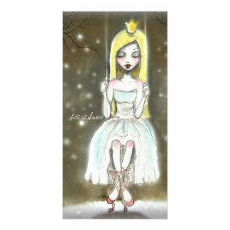 Ballerina Snow Princess note card, Christmas card Customized Photo Card