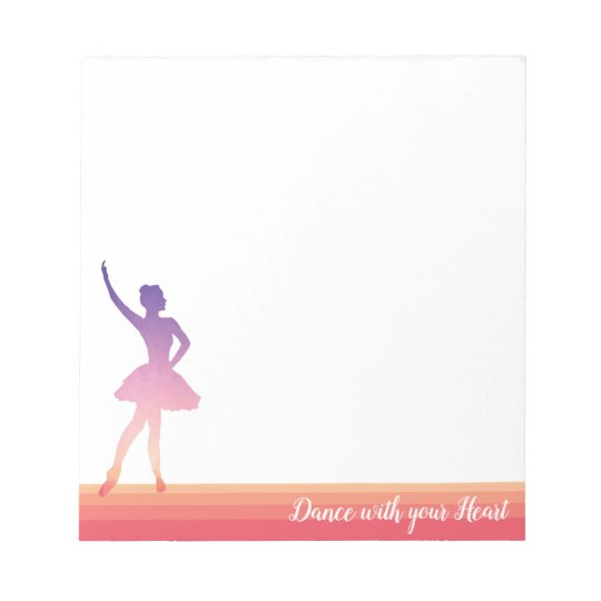 Ballerina teenager girl silhouette notepad