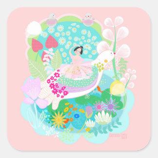 Ballerina with birds art Illustration sticker. Square Sticker