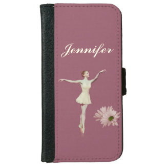 Ballerina with Daisy Flowers, Customizable Name iPhone 6 Wallet Case