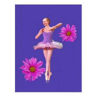Ballerina with Pink Daisies Postcard