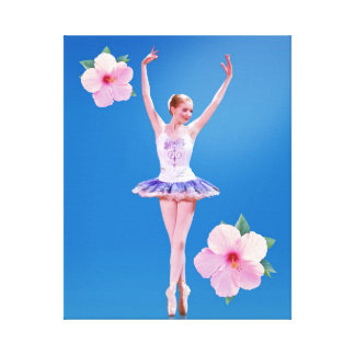 Ballerina  with Pink Hibiscus Flowers Stretched Canvas Prints