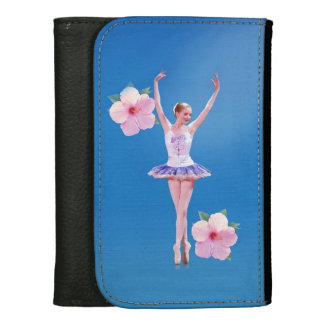 Ballerina with Pink Hibiscus Flowers  Customizable Wallet