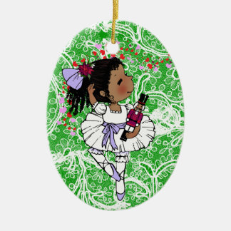 Ballerinas African American Girls Adorable Ceramic Ornament