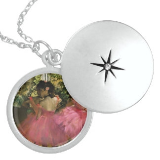 Ballerinas in Pink by Edgar Degas Locket Necklace