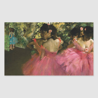 Ballerinas in Pink by Edgar Degas Rectangular Sticker
