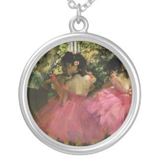 Ballerinas in Pink by Edgar Degas Silver Plated Necklace