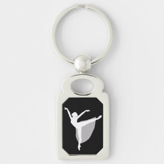 Ballet 1 Keychain, Dancer white silhouette Key Ring