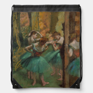 Ballet Artwork Dancers Pink and Green Edgar Degas Drawstring Bag
